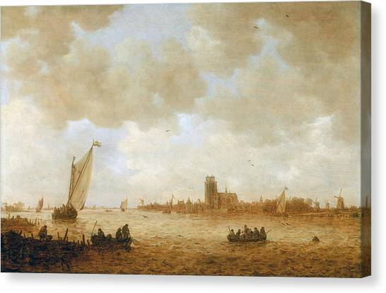 Maas Canvas Print - View Of Dordrecht With The Grote Kirk Across The Maas by Jan van Goyen