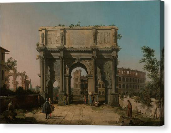 The Colosseum Canvas Print - View Of The Arch Of Constantine With The Colosseum by Canaletto