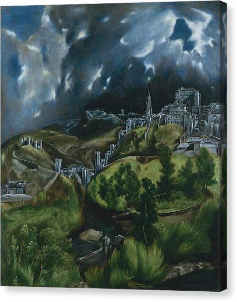 Greek Art Canvas Print - View Of Toledo by El Greco