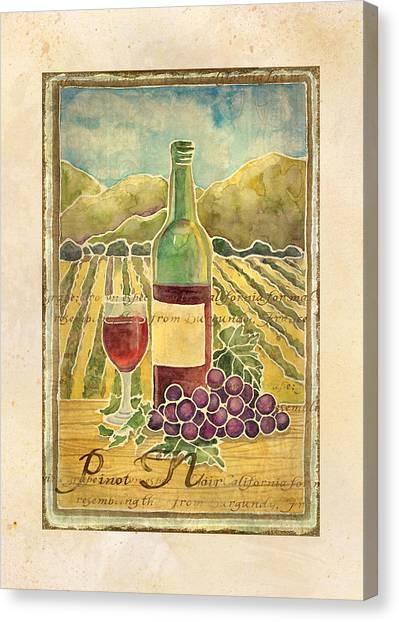 Vine Grapes Canvas Print - Vineyard Pinot Noir Grapes N Wine - Batik Style by Audrey Jeanne Roberts