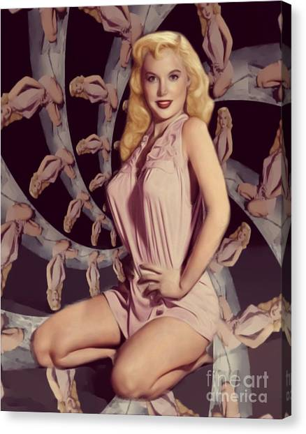 Abstract Nude Canvas Print - Vintage Pinup by Mary Bassett