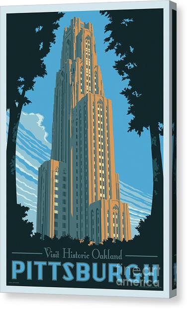 Ohio University Canvas Print - Vintage Style Pittsburgh Travel Poster by Jim Zahniser