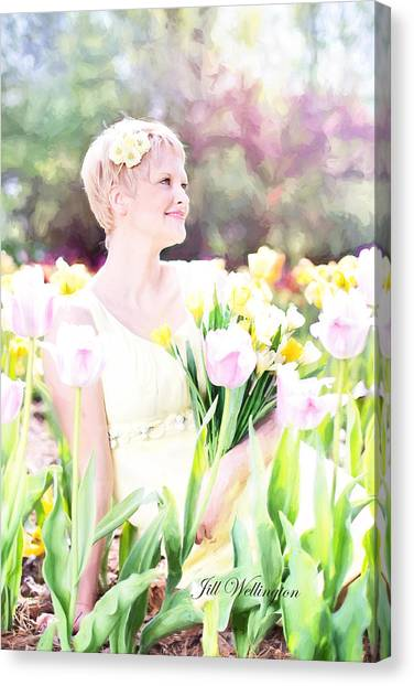 Vintage Val Spring Tulips Canvas Print