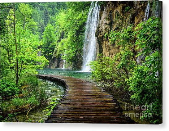 Walking Through Waterfalls - Plitvice Lakes National Park, Croatia Canvas Print