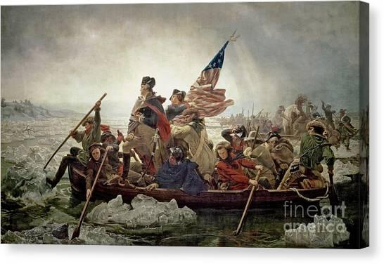 Stars And Stripes Canvas Print - Washington Crossing The Delaware River by Emanuel Gottlieb Leutze