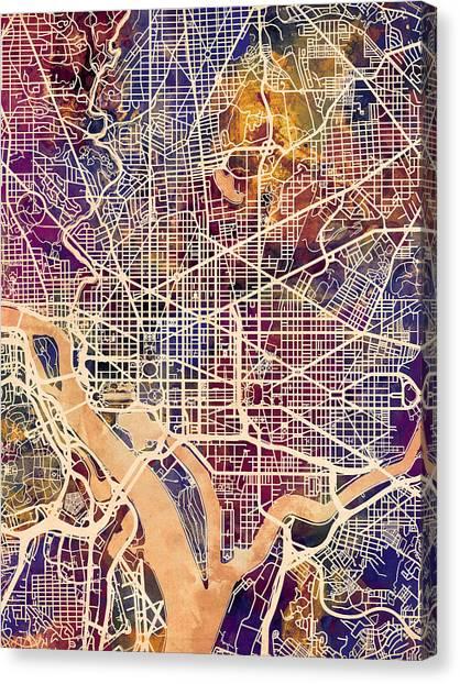 Street Canvas Print - Washington Dc Street Map by Michael Tompsett