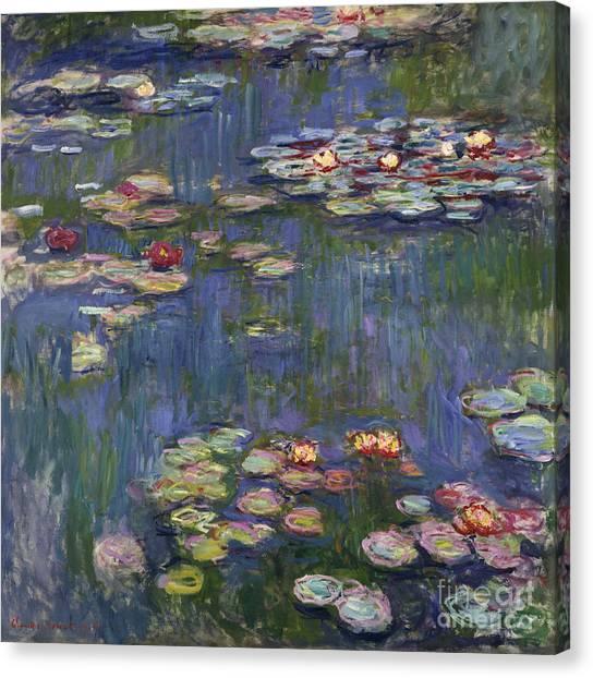 Jardin Canvas Print - Water Lilies, 1916 by Claude Monet