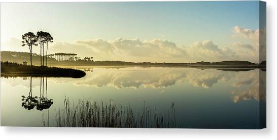 Western Lake Misty Morning Panorama Canvas Print