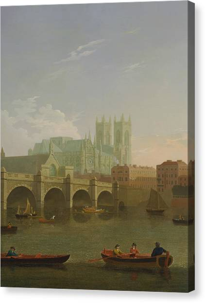 Westminster Abbey Canvas Print - Westminster Abbey And Bridge by Joseph Farington