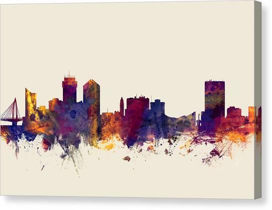 Watercolour Canvas Print - Wichita Kansas Skyline by Michael Tompsett