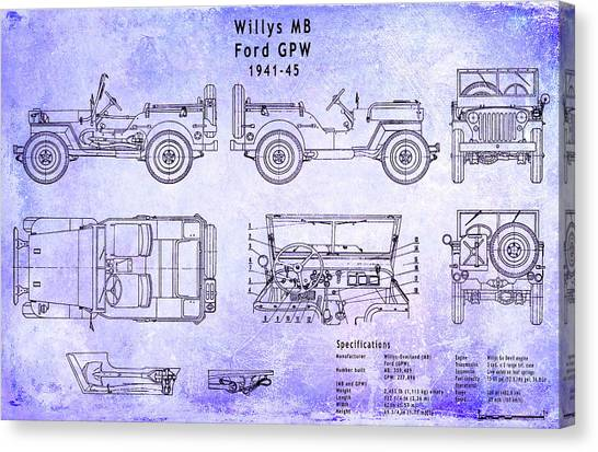 Car blueprint canvas prints page 4 of 25 fine art america car blueprint canvas print willys jeep blueprint by jon neidert malvernweather Gallery