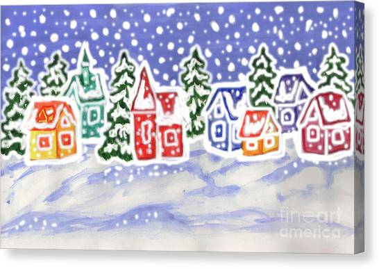 Winter Landscape With Multicolor Houses, Painting Canvas Print