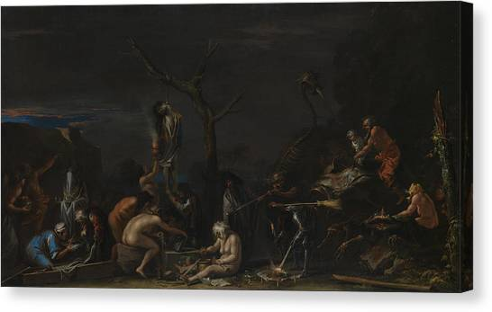 Baroque Art Canvas Print - Witches At Their Incantations by Salvator Rosa