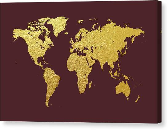 Gold leaf canvas prints fine art america gold leaf canvas print world map gold foil by michael tompsett gumiabroncs Choice Image
