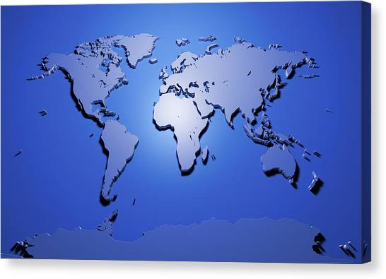 3d Canvas Print - World Map In Blue by Michael Tompsett
