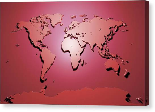 3d Canvas Print - World Map In Red by Michael Tompsett