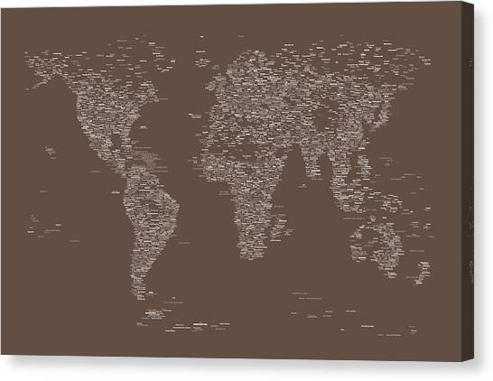 Named Canvas Print - World Map Of Cities by Michael Tompsett