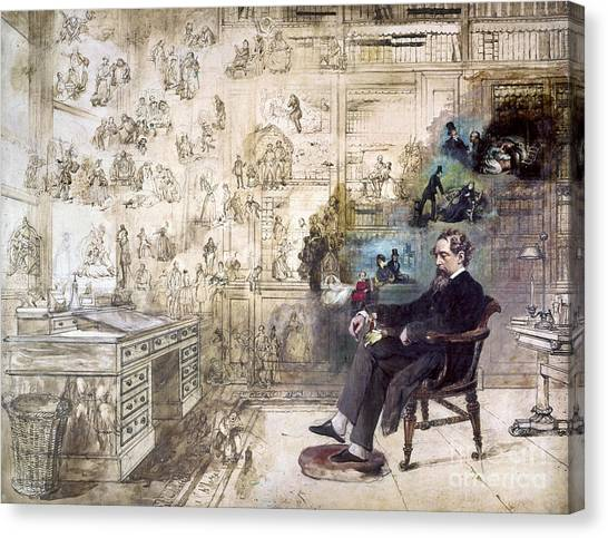 Canvas Print - Charles Dickens 1812-1870.  To License For Professional Use Visit Granger.com by Granger