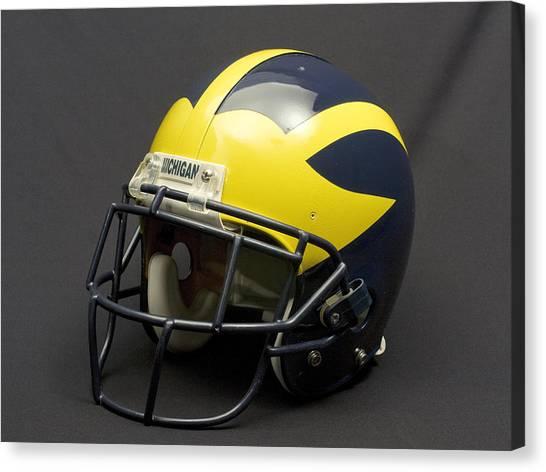 Canvas Print featuring the photograph 2000s Era Wolverine Helmet by Michigan Helmet