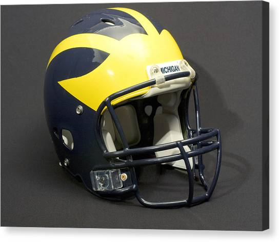 Canvas Print featuring the photograph 2000s Wolverine Helmet by Michigan Helmet