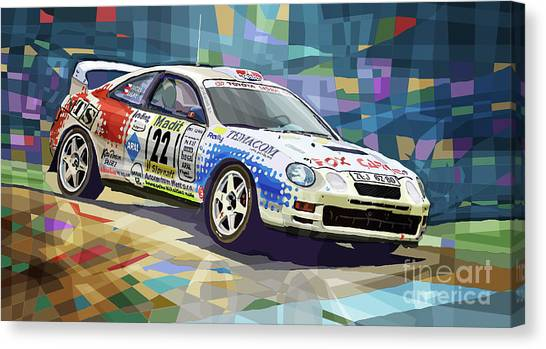 Toyota Canvas Print - 2002 Slovnaft Valasska Rally Toyota Celica Gt Four Liska Jugas  by Yuriy Shevchuk
