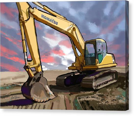 Dump Trucks Canvas Print - 2004 Komatsu Pc200lc-7 Track Excavator by Brad Burns