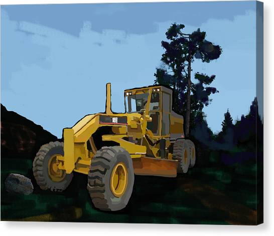 Hard Hat Canvas Print - 2006 Caterpillar 12h Vhp Plus Motor Grader by Brad Burns