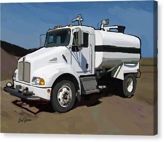 Dump Trucks Canvas Print - 2007 Kenworth T300 Water Truck by Brad Burns