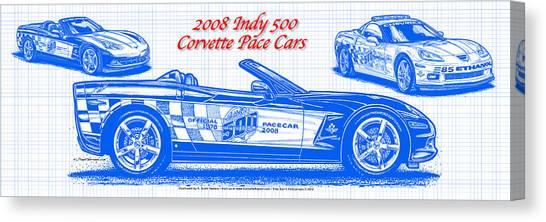 2008 Indy 500 Corvette Pace Car Blueprint Series Canvas Print