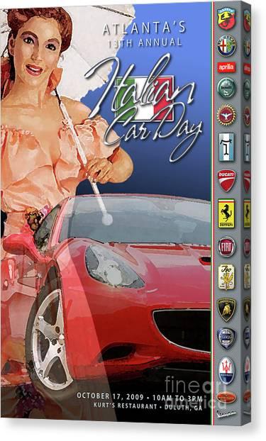 2009 Atlanta Italian Car Day Postcard Canvas Print