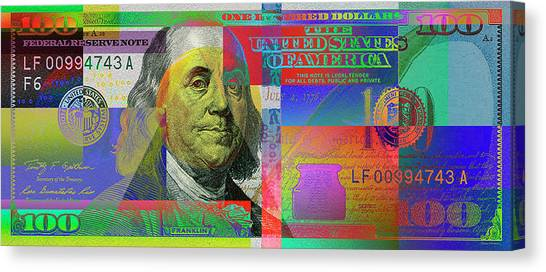 Currency Canvas Print -  2009 Series Pop Art Colorized U. S. One Hundred Dollar Bill No. 1 by Serge Averbukh
