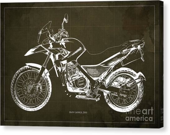 Arte Canvas Print - 2010 Bmw G650gs Vintage Blueprint Brown Background by Drawspots Illustrations