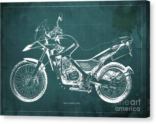 Arte Canvas Print - 2010 Bmw G650gs Vintage Blueprint Green Background by Drawspots Illustrations