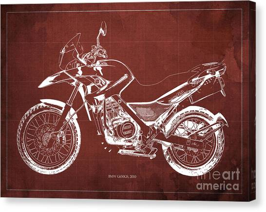 Arte Canvas Print - 2010 Bmw G650gs Vintage Blueprint Red Background by Drawspots Illustrations