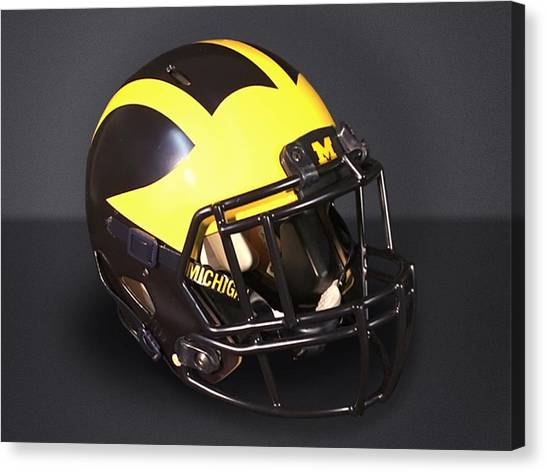 Canvas Print featuring the photograph 2010s Wolverine Helmet by Michigan Helmet
