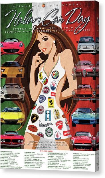 2012 Atlanta Italian Car Day Poster Canvas Print