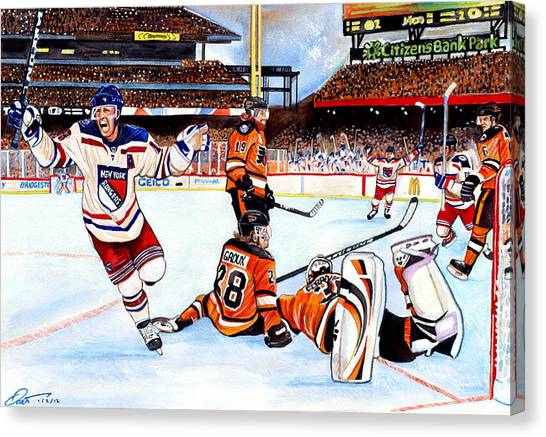 New York Rangers Canvas Print - 2012 Bridgestone-nhl Winter Classic by Dave Olsen