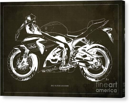 Suzuki Canvas Print - 2012 Suzuki Gsx-r1000 Blueprint Motorcycle Art Print Brown Background by Drawspots Illustrations