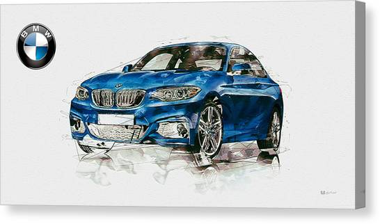Men Canvas Print - 2014 B M W 2 Series Coupe With 3d Badge by Serge Averbukh