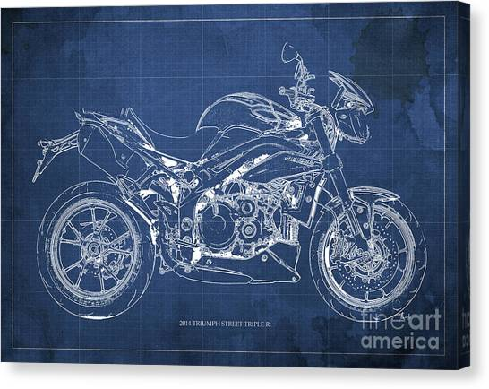 Dada Art Canvas Print - 2014 Triumph Street Triple R, Motorcycle Blueprint For Man Cave, Blue Background by Drawspots Illustrations