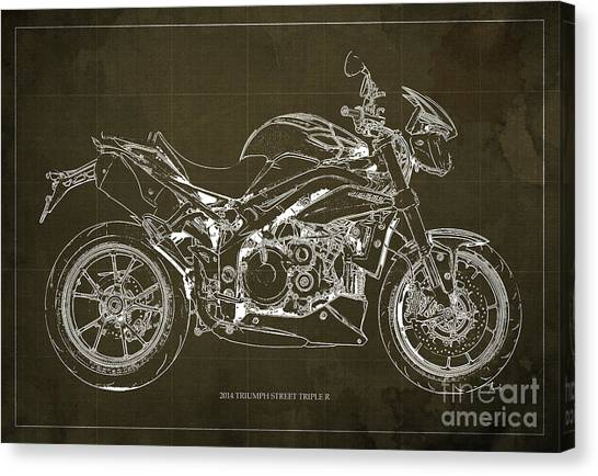 Dada Art Canvas Print - 2014 Triumph Street Triple R Motorcycle Blueprint For Man Cave Brown Background by Drawspots Illustrations