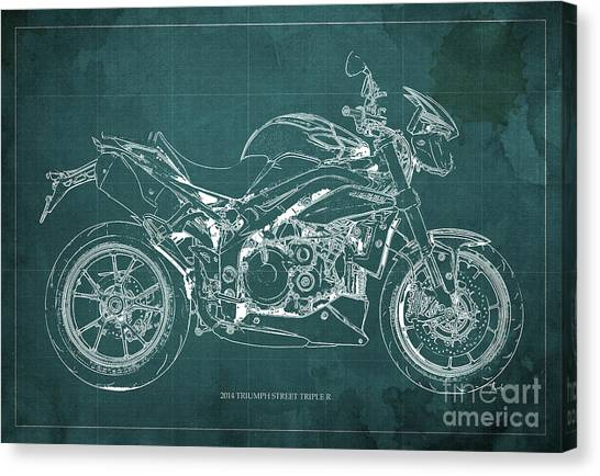 Dada Art Canvas Print - 2014 Triumph Street Triple R Motorcycle Blueprint For Man Cave Green Background by Drawspots Illustrations