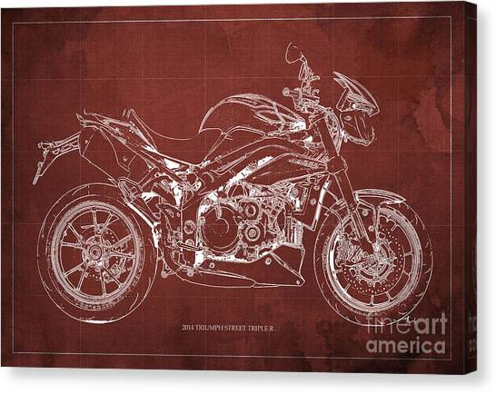 Dada Art Canvas Print - 2014 Triumph Street Triple R Motorcycle Blueprint For Man Cave Red Background by Drawspots Illustrations