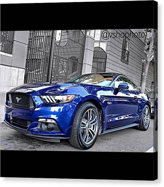 Ponies Canvas Print - 2015 #ford Mustang Gt 5.0l V8 Engine by Vadim Shamilov