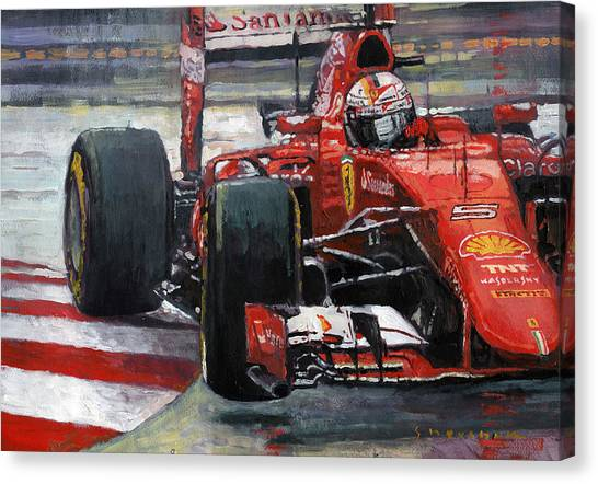 Paper Canvas Print - 2015 Hungary Gp Ferrari Sf15t Vettel Winner by Yuriy Shevchuk