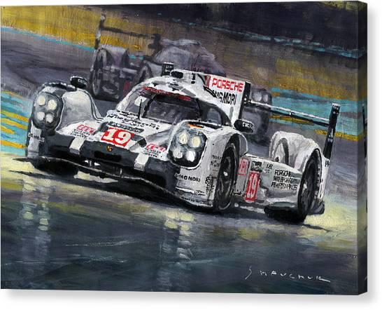 Racing Canvas Print - 2015 Le Mans 24 Lmp1 Winner Porsche 919 Hybrid Bamber Tandy Hulkenberg by Yuriy Shevchuk