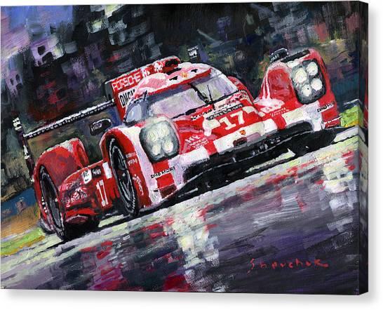 Automotive Art Canvas Print - 2015 Le Mans 24h Porsche 919 Hybrid by Yuriy Shevchuk
