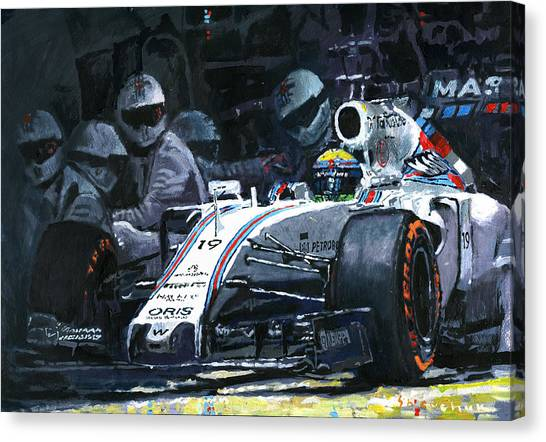 Barcelona Canvas Print - 2015 Williams Fw37 F1 Pit Stop Spain Gp Massa  by Yuriy Shevchuk