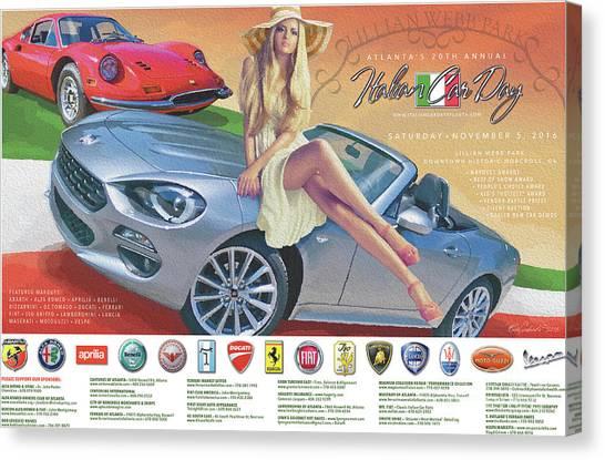 2016 Atlanta Italian Car Day Poster Canvas Print