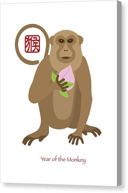 2016 Chinese Year Of The Monkey With Peach Canvas Print